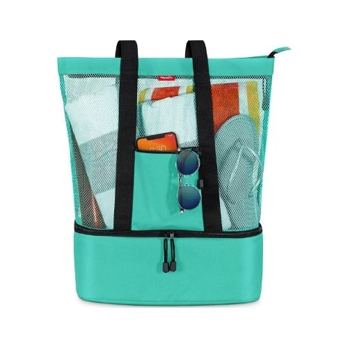 OdyseaCo Mesh Beach Bag with Detachable Insulated Cooler