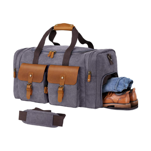 WOWBOX Top rated Weekender Bag with Shoe Compartment - Grey